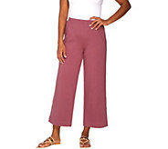 Joan Rivers Regular Length Wide Leg Pull-on Cropped Knit Pants - A304643