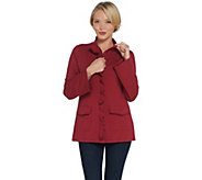 Denim & Co. French Terry Bell-Sleeve Jacket w/ Ruffle Detail - A309343