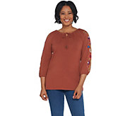 Studio by D&Co. French Terry Tie Front Embroidered 3/4-Sleeve Top - A309443