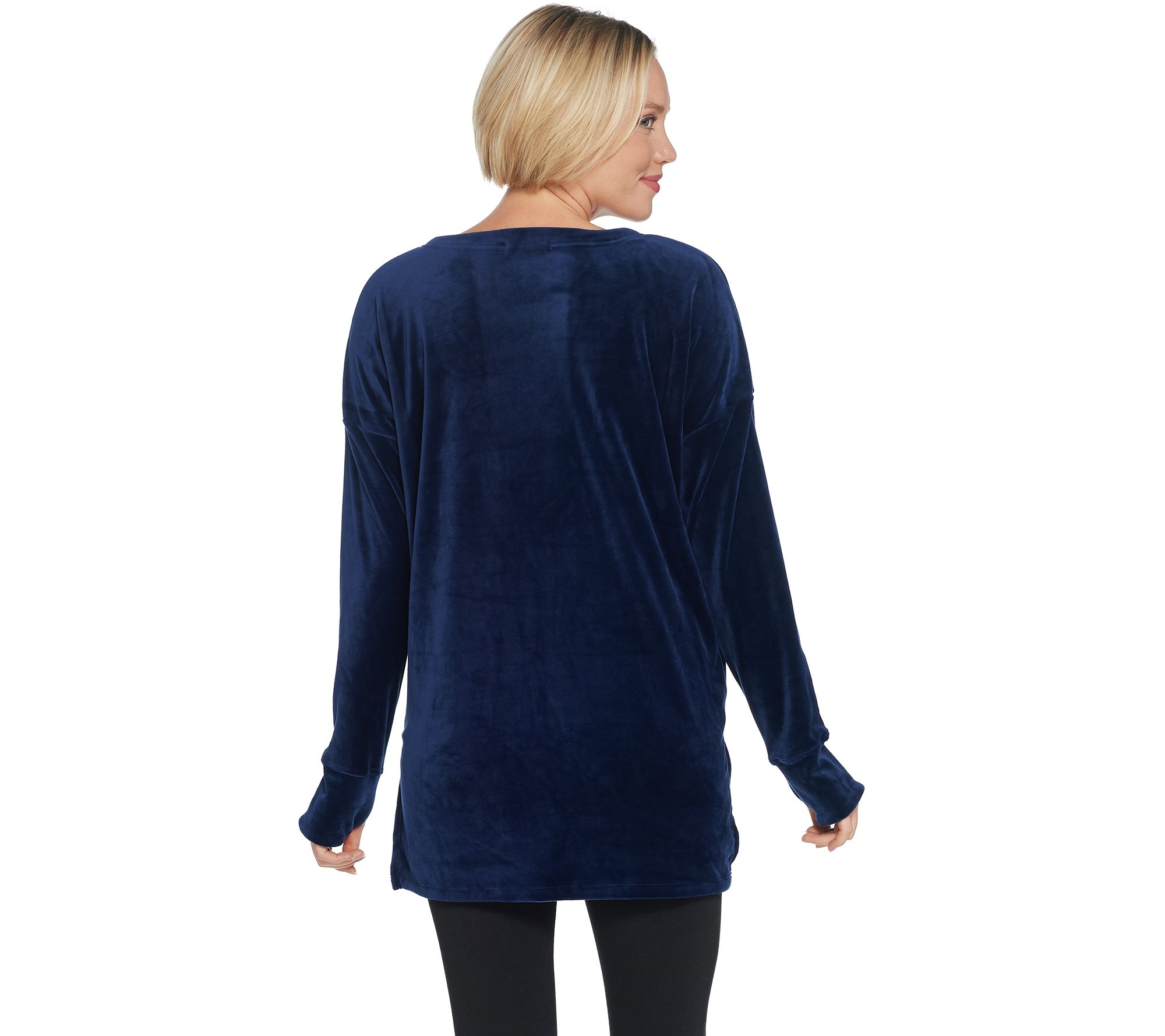 ca2ace07cc0f72 Cuddl Duds Double Plush Velour V-Neck Long Sleeve Top - Page 1 — QVC.com