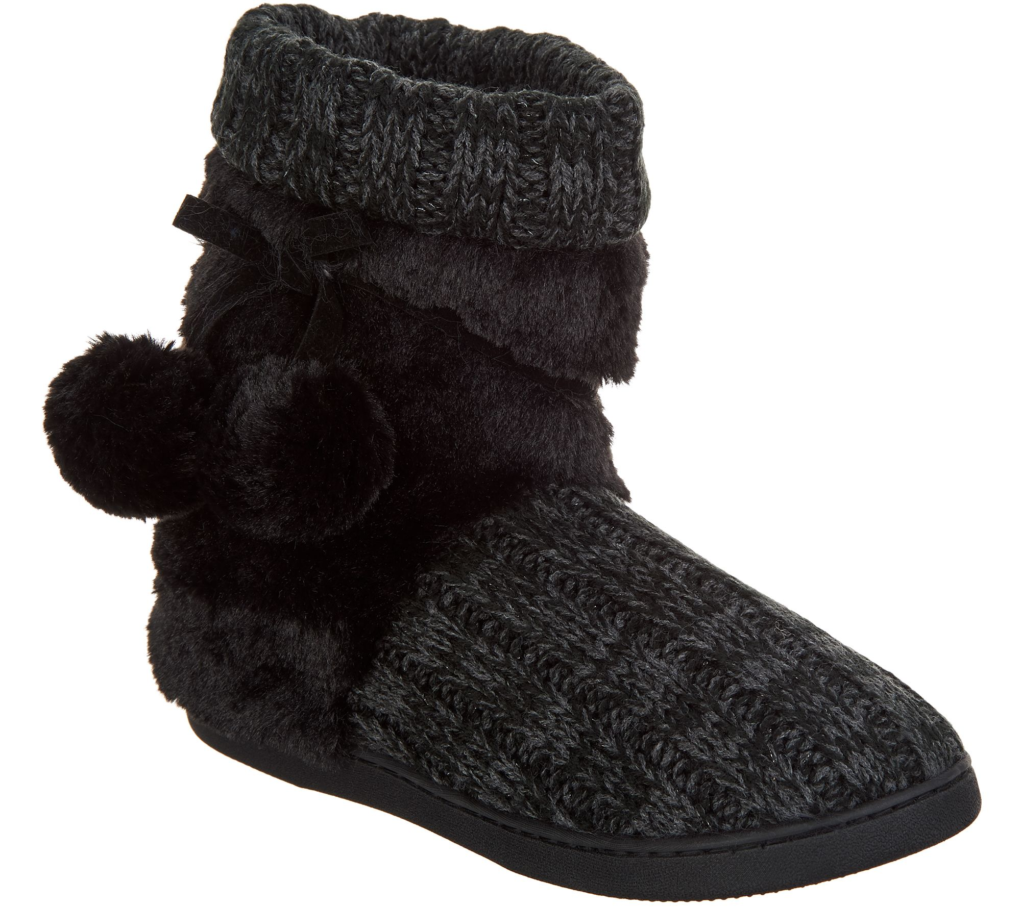 0d7a8ee70992 MUK LUKS Michelle Knit Slipper Boot with Faux Fur Lining - Page 1 — QVC.com