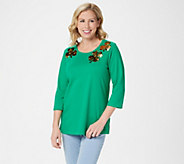 Quacker Factory Reversible Sequin Motif Knit Top - A346643
