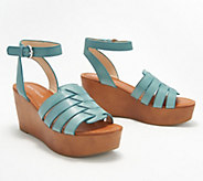Marc Fisher Woven Leather Wedges with Ankle Strap - Pastya - A352043
