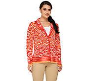 Isaac Mizrahi Live! Animal Jacquard Sweater Blazer - A261044