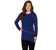 H by Halston Crew Neck Long Sleeve Sweater with Zipper Hem - A272644