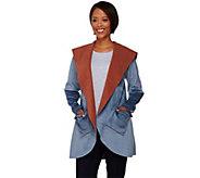 LOGO by Lori Goldstein Reversible Fleece Jacket with Hood - A272844