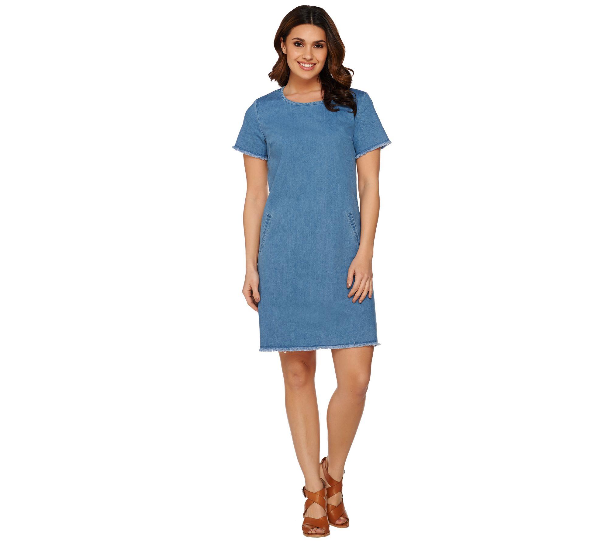C. Wonder Short Sleeve Denim Dress with Trim Details - Page 1 — QVC.com