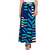 Susan Graver Printed Liquid Knit Six Gore Maxi Skirt with Slit - A276444