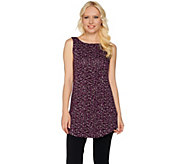 LOGO Layers by Lori Goldstein Printed Knit Tank with Curved Hem - A279444