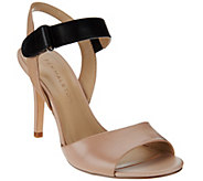 As Is H by Halston Slingback Color -Block Leather Heel - Maya - A285244