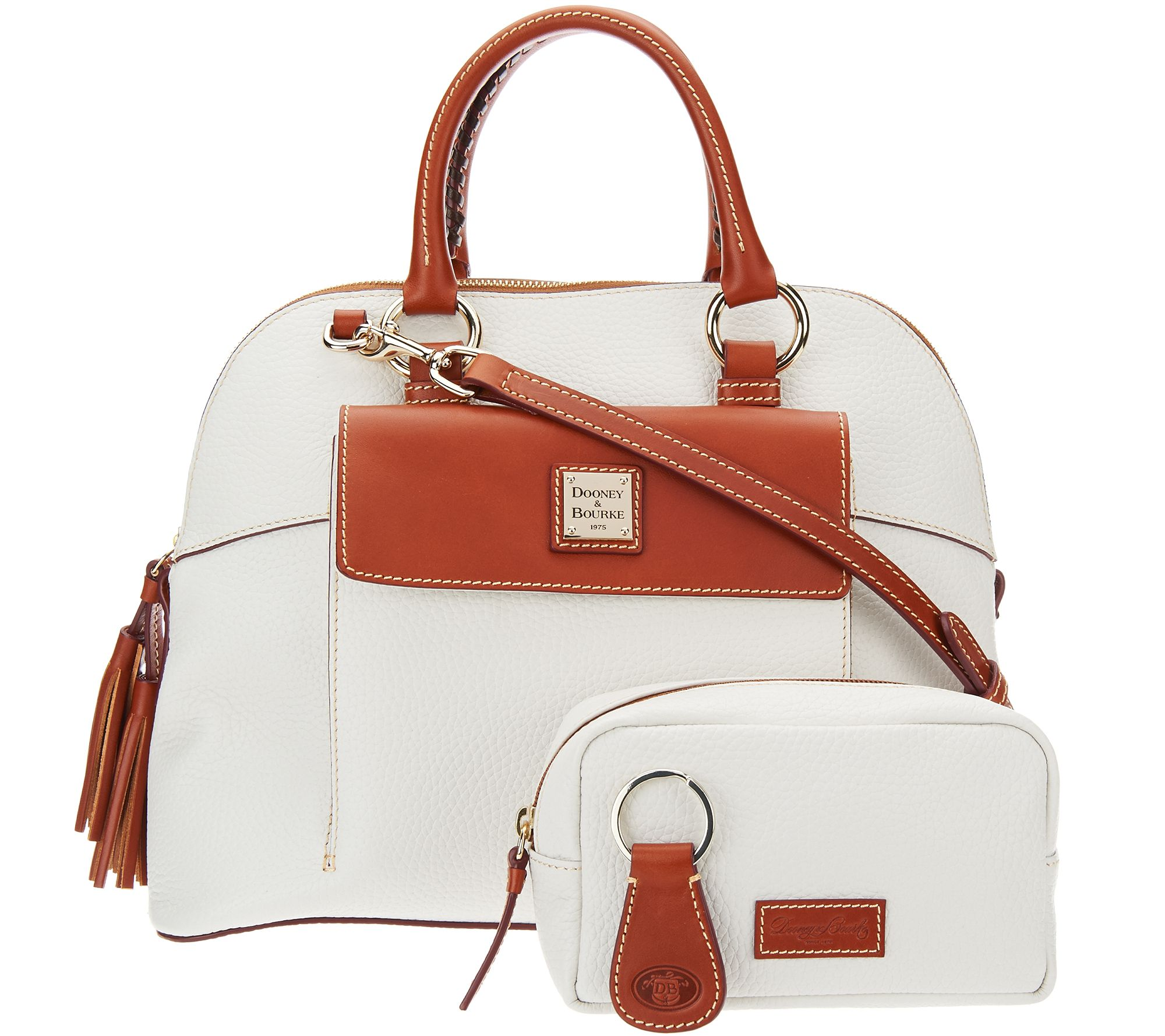 Dooney Bourke Pebble Leather Aubrey Satchel With Accessories Page 1 Qvc