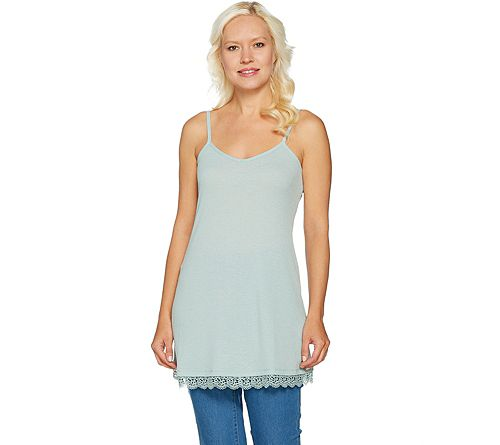 LOGO by Lori Goldstein Pique Knit Camisole w/ Lace at Hem