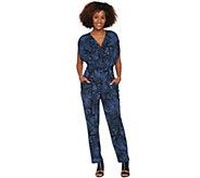 Attitudes by Renee Regular Faux Wrap Knit Jumpsuit - A290744