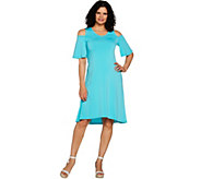 H by Halston Regular Jet Set Jersey Cold Shoulder Hi-Low Hem Dress - A292544