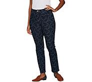 LOGO by Lori Goldstein Printed 5-Pocket Slim Leg Jeans - A296544