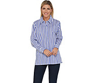 BROOKE SHIELDS Timeless Striped Stretch Poplin Shirt - A306644