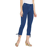 Isaac Mizrahi Live! Petite Knit Denim Crop Jeans with Tie Detail - A306844