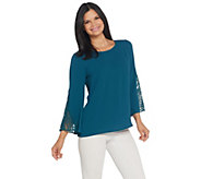 Joan Rivers Scoop Neck Top with Crochet Sleeves - A309544