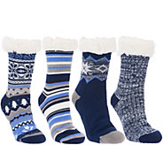 MUK LUKS Jojoba Infused Faux Shearling Cabin Socks Set of 4 Pairs - A342644