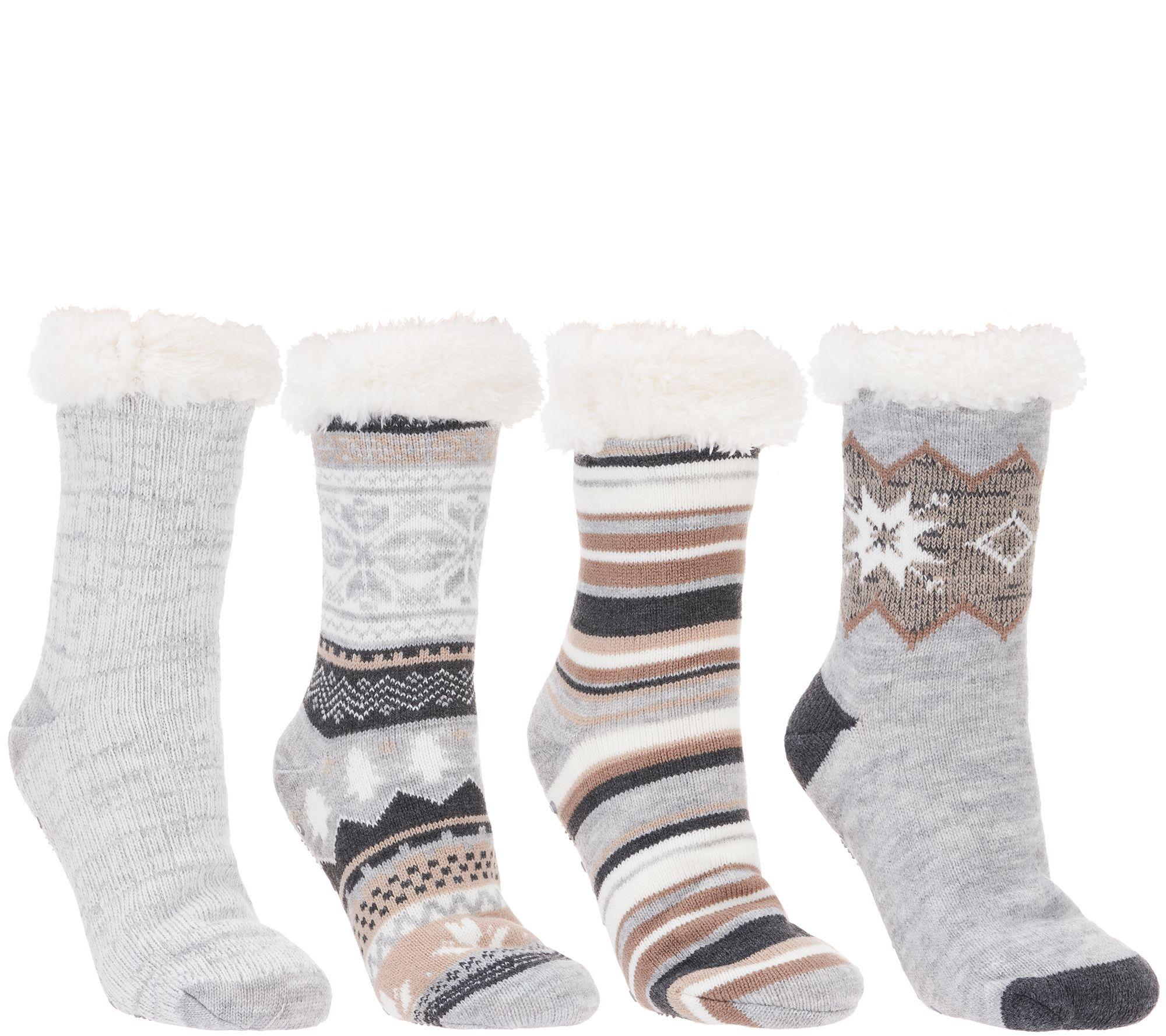 faceb2d4778 MUK LUKS Jojoba Infused Faux Shearling Cabin Socks Set of 4 Pairs - Page 1  — QVC.com