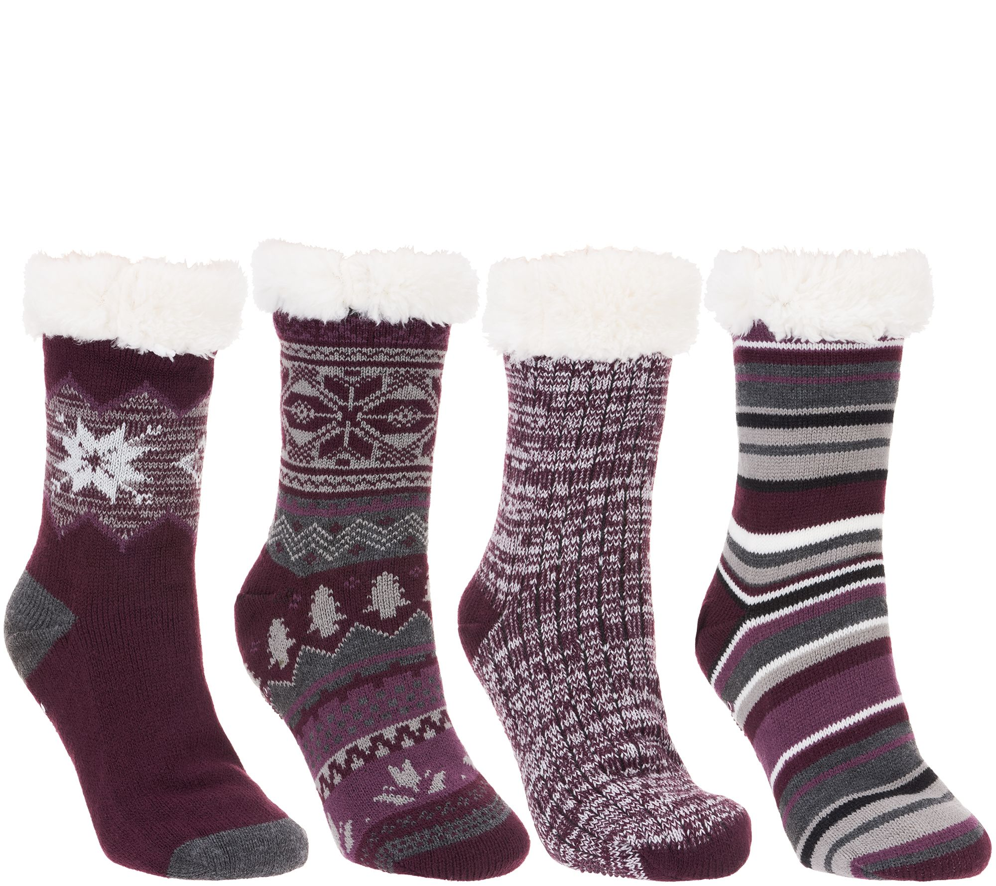 ca62132ccd74 MUK LUKS Jojoba Infused Faux Shearling Cabin Socks Set of 4 Pairs - Page 1  — QVC.com