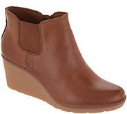 Clarks Leather Slip-On Wedge Boots - Hazen Flora - A345144