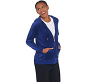 Denim & Co. Active Velour Zip Front Long Sleeve Hooded Jacket - A345244
