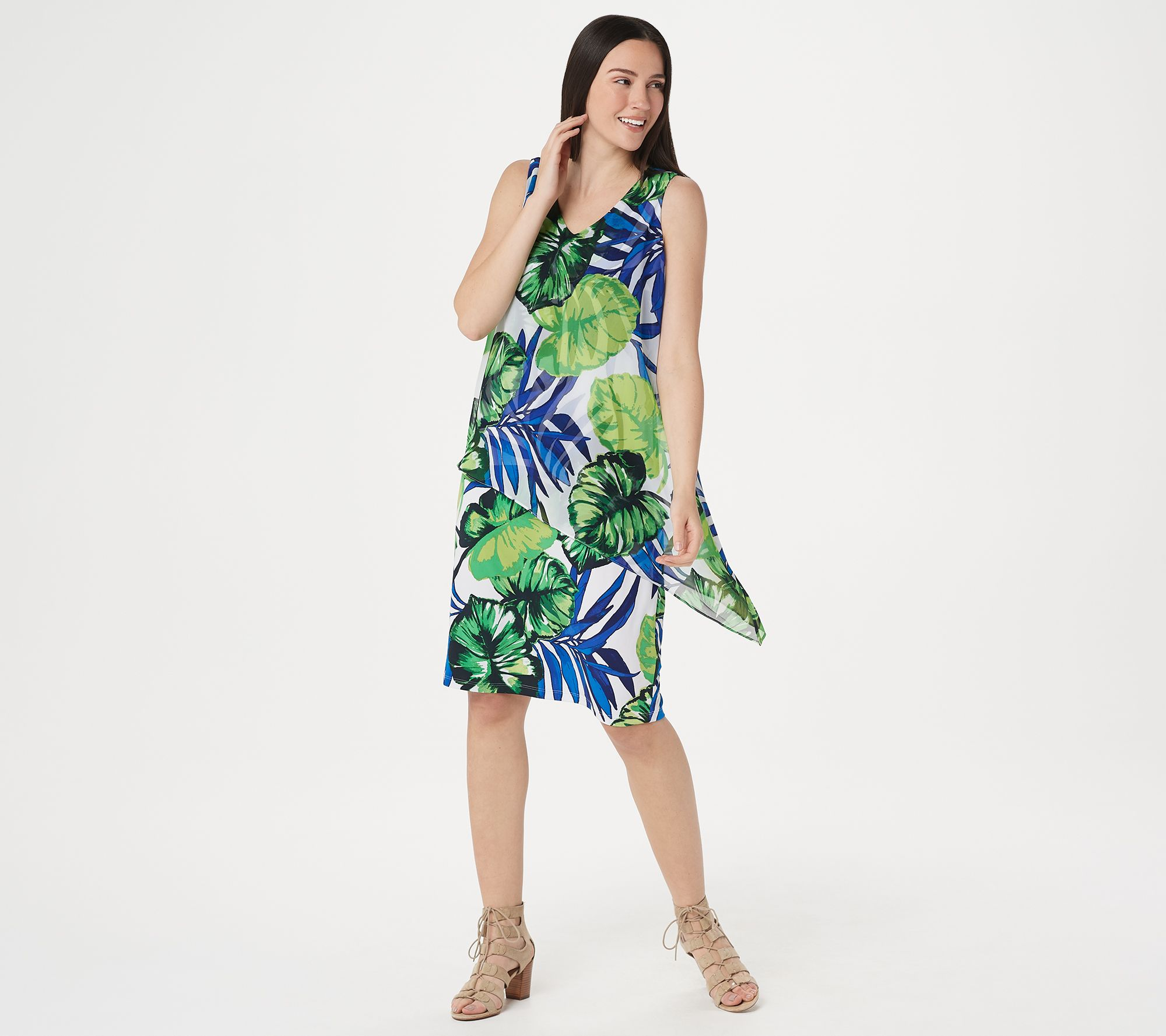 Susan Graver Printed Liquid Knit Dress with Printed Overlay - Page ...
