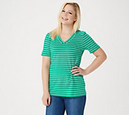 Denim & Co. Essentials Striped Perfect Jersey Short- Sleeve Top - A353044