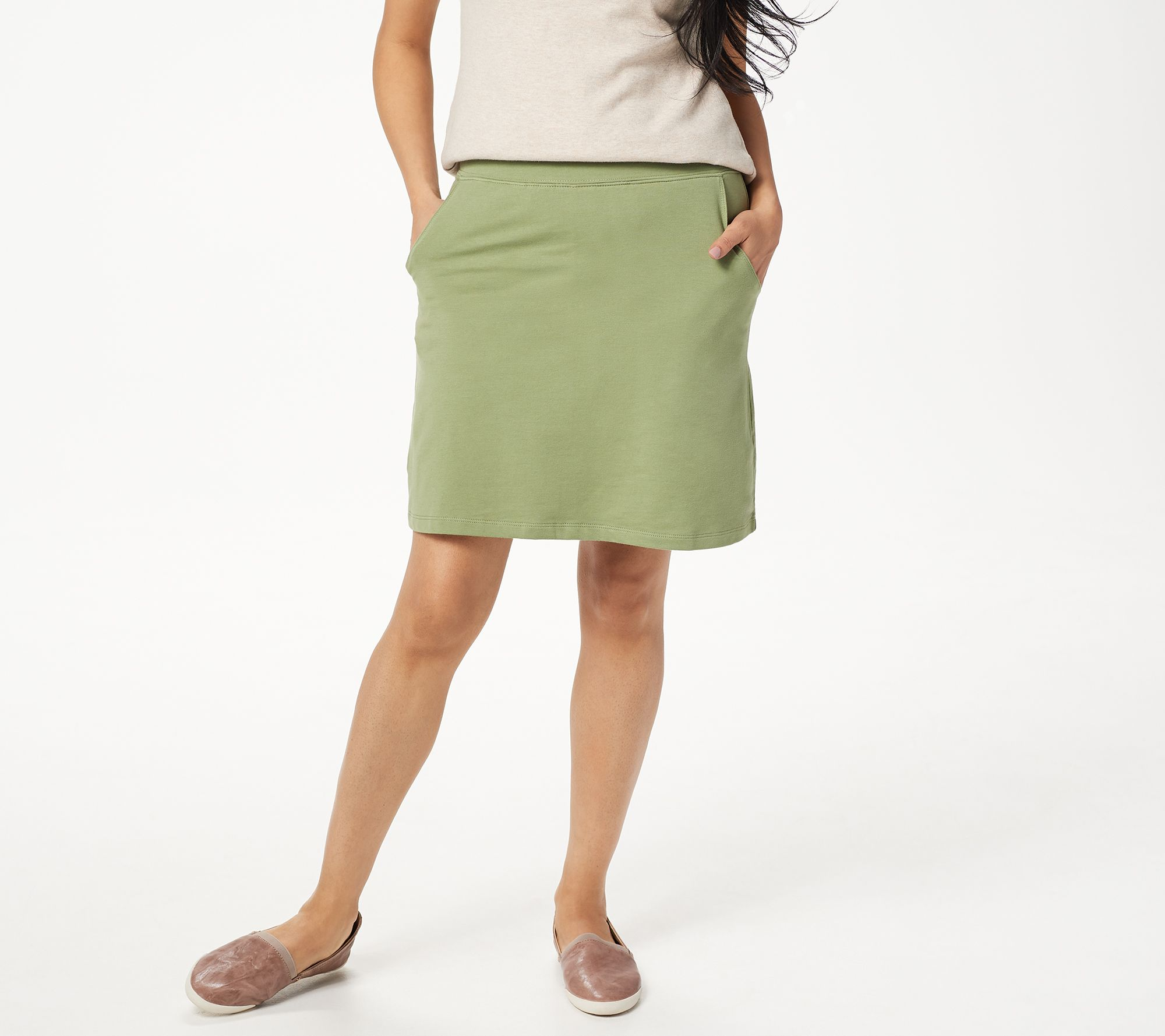 bdf855fb34 Denim & Co. Essentials Pull-On Knit Skort with Pockets - Page 1 — QVC.com