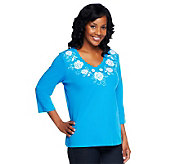 Denim & Co. 3/4 Sleeve Knit Top with Floral Embroidery - A234545