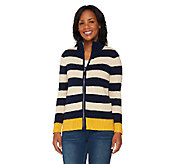 Susan Graver Weekend Cotton Acrylic Zip Front Sweater - A261945