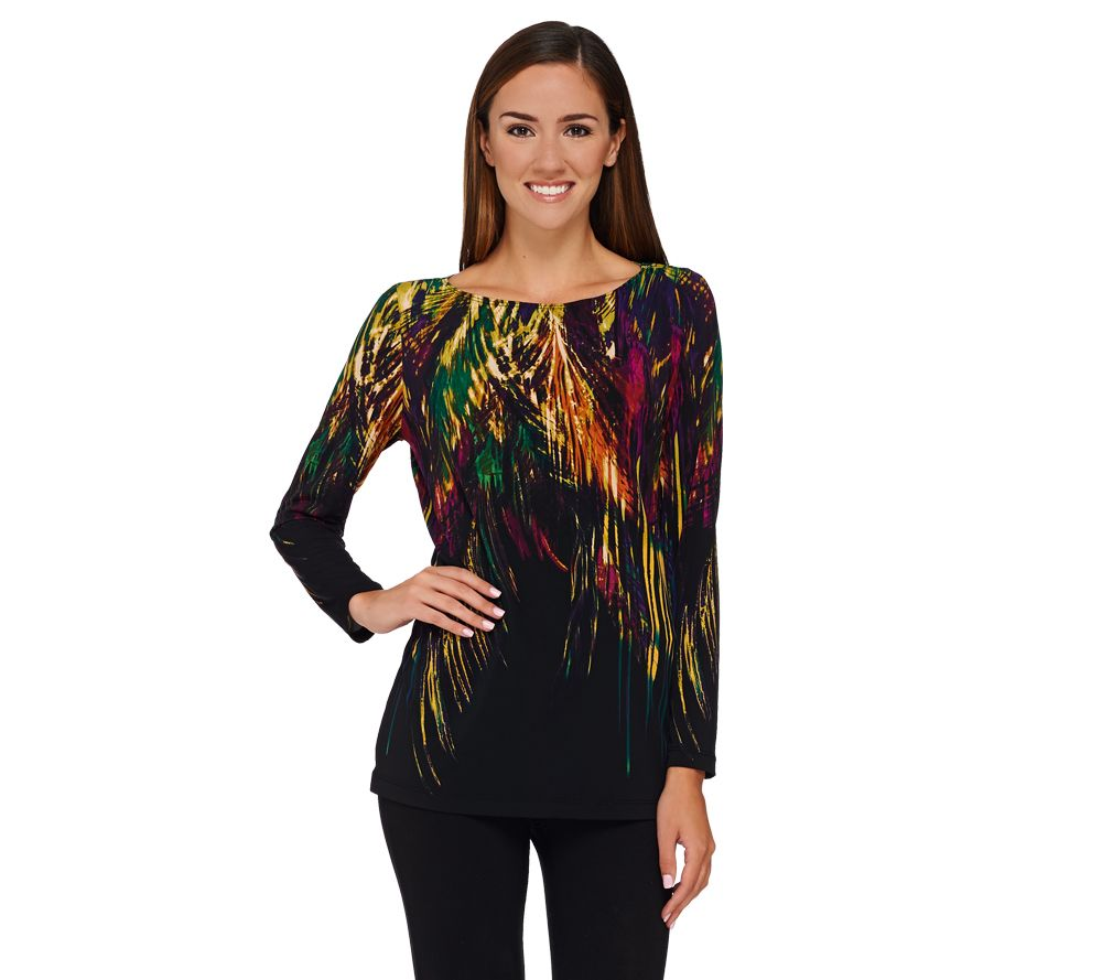 Susan Graver Printed Liquid Knit Long Sleeve Top Page 1 Qvc
