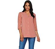 Denim & Co. Button Front 3/4 Lace Sleeve Blouse - A279245