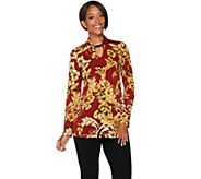 Susan Graver Printed Liquid Knit Tunic with Keyhole Trim - A281145