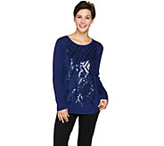 Bob Mackies Sequin Front Sweater with Ribbed Long Sleeves - A283745