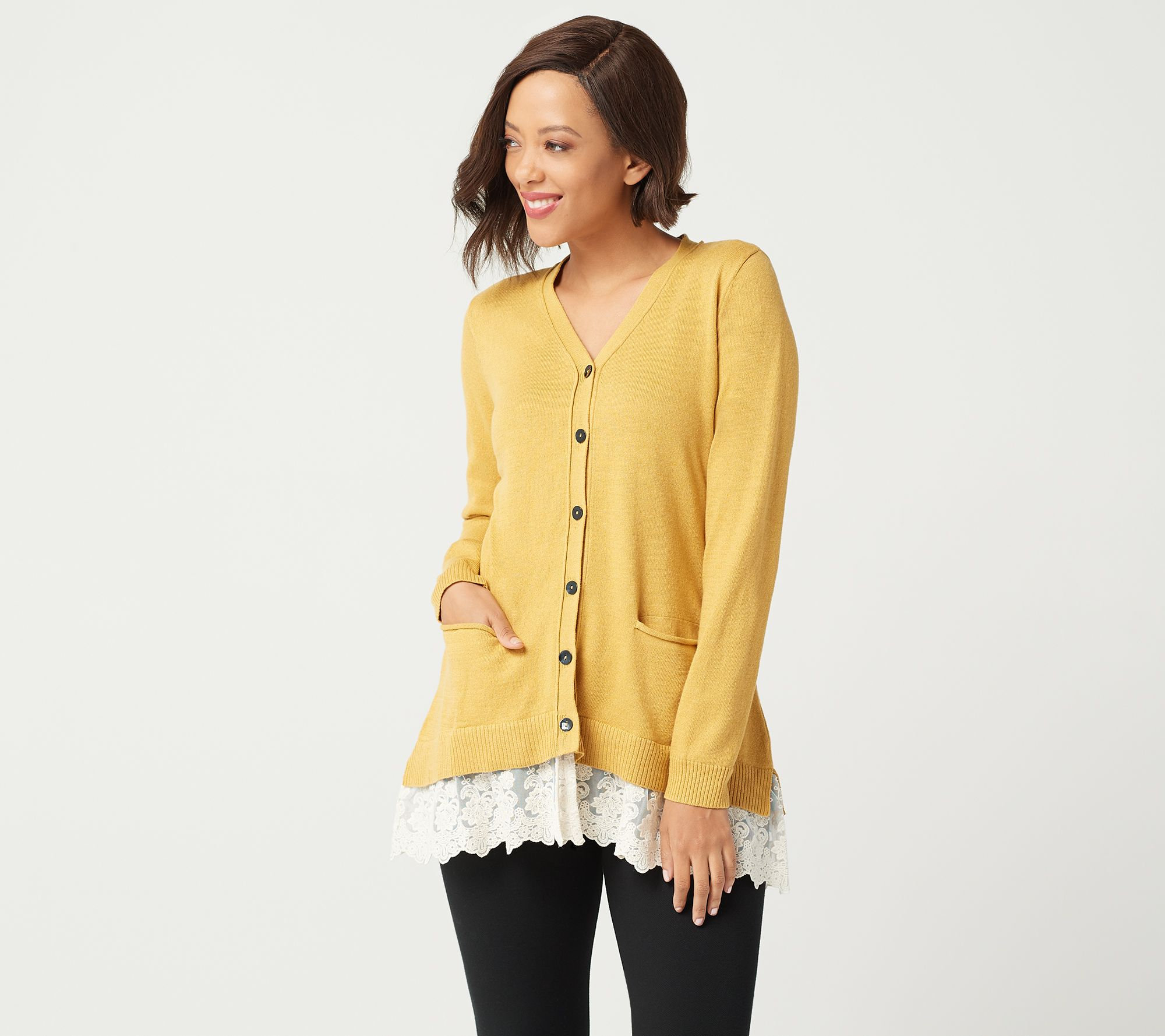 9d0a1e59f4 LOGO by Lori Goldstein Button Front Knit Cardigan with Lace Hem ...