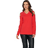 Susan Graver Weekend Stretch Cotton Modal Cold Shoulder Top - A285445