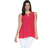 Attitudes by Renee Jersey Sleeveless Keyhole Top w/ Scallop Hem - A301345
