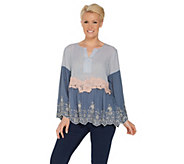 LOGO Lavish by Lori Goldstein Embroidered Woven Blouse w/ Lace Details - A305445