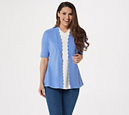 Isaac Mizrahi Live! Open Front Elbow Sleeve Scallop Cardigan - A306445
