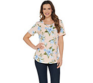Denim & Co. Perfect Jersey Floral Print Short Sleeve Curved Hem Top - A307045