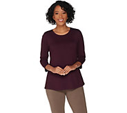 LOGO Principles by Lori Goldstein Cotton Modal 3/4 Sleeve Top - A307245