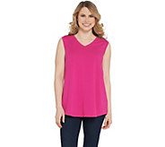 Denim & Co. Essentials V-Neck Knit Tank with Seaming Detail - A307445