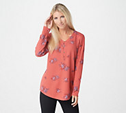 Denim & Co. Printed Waffle Knit V-Neck Henley Top w/ Curved Hem - A309345