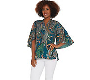 Belle by Kim Gravel Paisley Print Flutter Sleeve ZipFront Blouse - A309945