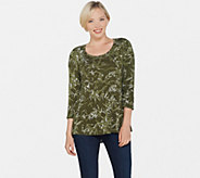 H by Halston Bamboo Printed Scoop Neck 3/4 Sleeve Top - A311445
