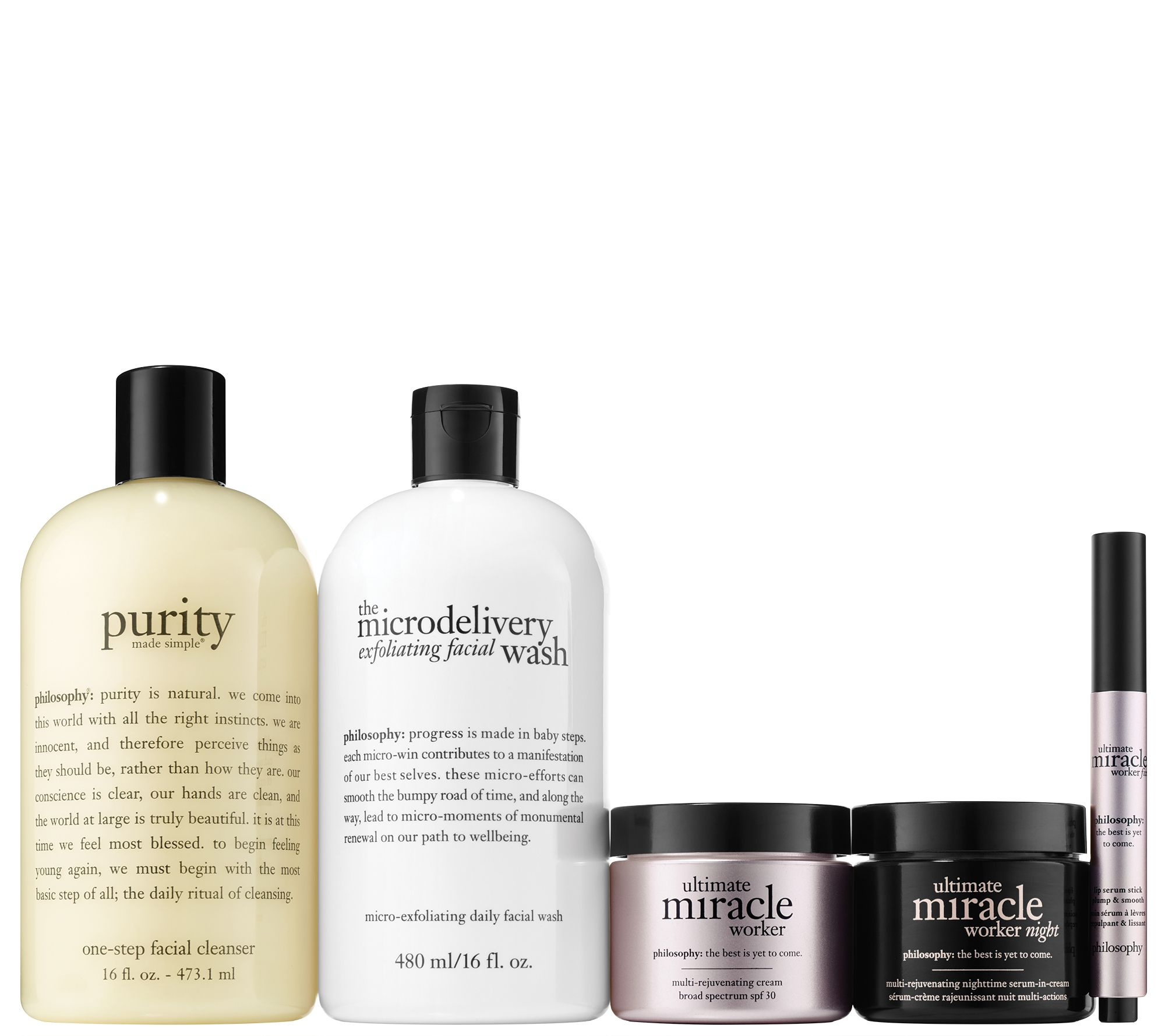 9adfb35dcdd58 philosophy ultimate miracle worker 5-piece am pm skincare kit - Page 1 —  QVC.com
