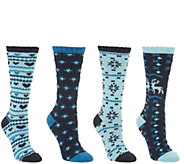 MUK LUKS Set of 4 Holiday Boot Socks - A342645