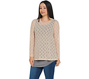 LOGO Layers by Lori Goldstein Stretch Lace Top with Knit Details - A343845